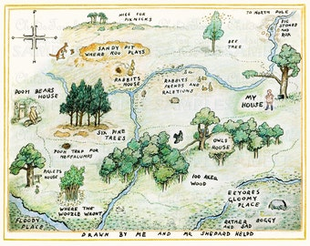 Colored Pencil - Map of the Hundred Acre Woods -Winnie The Pooh by E.H. Shepard - Art Reproduction-100 Aker Woods