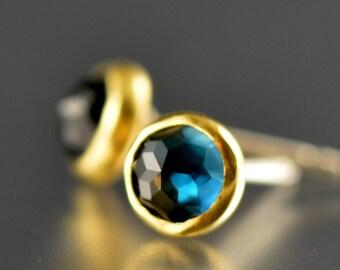 Blue Topaz Studs - London Blue Topaz Posts - 18 KT Gold Gem Stone Studs - Blue Gem Gold Posts - Rose Cut Topaz Studs - Rose Cut Gem Studs
