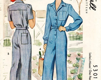 1940s repro vintage women's sewing pattern // rosie riveter // overalls jumpsuit boiler suit workwear // PICK YOUR SIZE // English & French