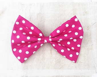 Pink with white polka dot large hair bow on clip Rockabilly Pin Up