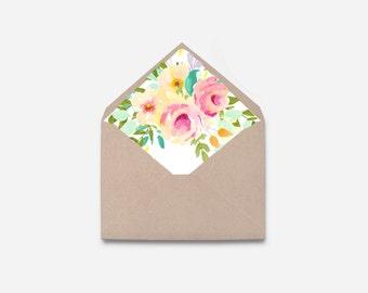 Envelope Liner, Watercolor Flower, DIY Printable Envelope (471)