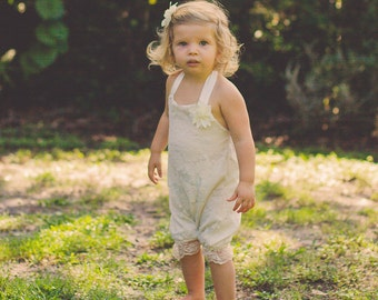 Ivory Lace Romper - Baby Romper -Flower Girl Romper - Baby Bubble Romper - Vintage Romper- Ruffle Romper - Romper - Vintage inspired