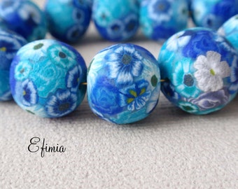set of 6 textured beads shades blue, turquoise, sky blue