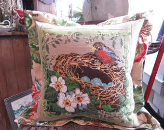 "21"" x 21"" Vintage Needlepoint of a Robin on Her Nest Full of Eggs"
