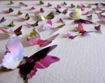 Floral Upcycled Glossy 3D Butterfly Art / Recycled Calendar Art / Shades of Pink, Purple, Green / 8x10 inches / Ready to Ship