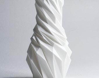 White Vase Living Room Modern Decoration Vase Modern Vase Geometric Vase Decorative Twisted Vase 3d Print