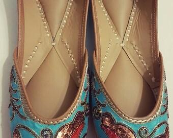 20% off Blue lovebirds sequins Punjabi Juttis Khussas Ballerinas shoes flats bridal party wear gypsy boho