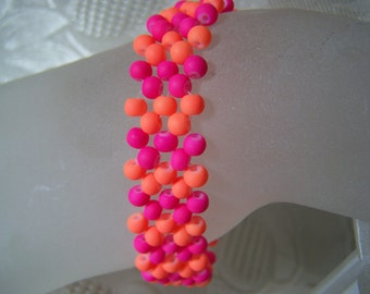 Rubber Beads Hot Pink and Flourescent Orange Right Angle Weave Bracelet