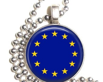 European Union Flag, Altered Art Pendant, Earrings and/or Keychain, Round Photo Silver and Resin Charm Jewelry, Flag Earrings, Flag Key Fob
