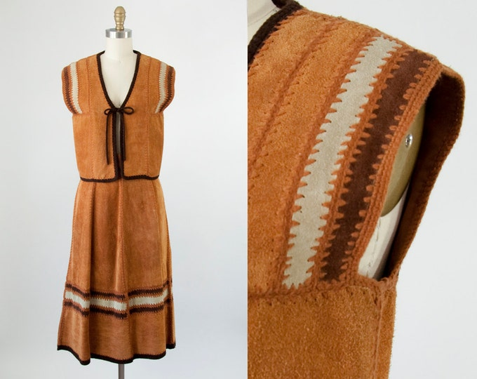 "70s Vintage Suede Crochet Knit Vest and Skirt Set. 70s Boho Festival (S, M - 27"" Waist)"