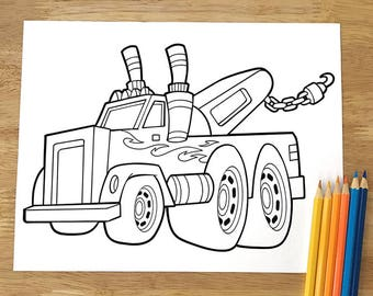 Big Tow Truck Coloring Page! Downloadable PDF file!