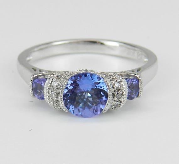 Tanzanite and Diamond Three Stone Engagement Promise Ring White Gold Size 7.25
