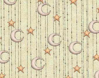 Santoro Adrift Mermaid Moon Stripe Light Sage cotton woven fabric