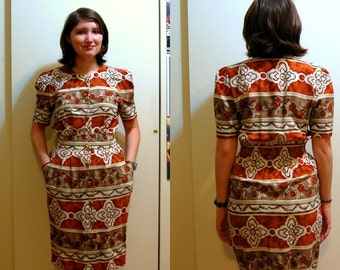 SALE S/M Vintage 80s Brown and White Dress