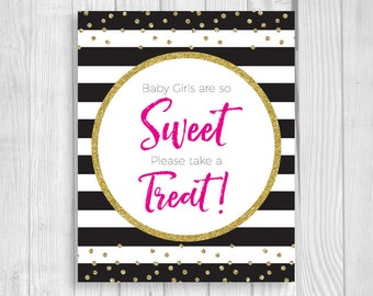 Printable Baby Girls So Sweet Black and White Stripes 8x10 Baby Shower Candy Buffet Sign - Hot Pink and Gold Glitter Confetti Polka Dots