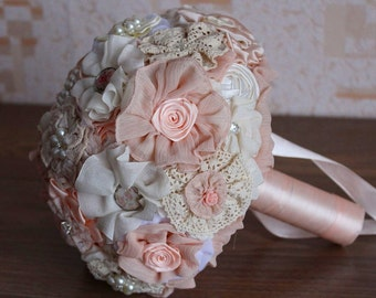 Brooch bouquet, brooch bouquet with boutonniere. Wedding bouquet, fabric bouquet. Ivory bouquet, wedding set. Bridesmaids bouquets. Bridal