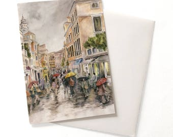 Venice Street in the Rain with People Watercolor, Umbrellas, Greeting Card, Note Card with Envelope