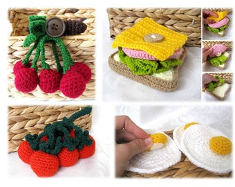 Kids party set of 4 pcs Crochet food Kid toy Kitchen Play Food Garden game Kinderküche Spielen Jeux de Cuisine Pour Enfants Dîner d'enfants