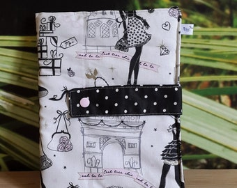 Drawing pouch / bag Organizer agenda - La Parisienne / Chic and Retro - mother - lined with fleece