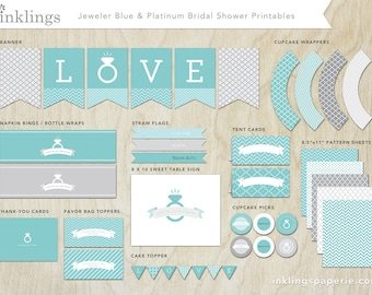 Printable Bridal Shower Decorations  // Banner, Cake Topper, Cupcake Wraps, Straw Flags, Tent Cards, Labels //  Jeweler Blue and Platinum