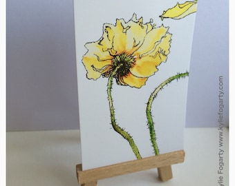 ACEO PRINT, Yellow Poppy ACEO, Fine Art Print, Yellow Poppy No. 2, Kylie Fogarty Art, Collectable Art