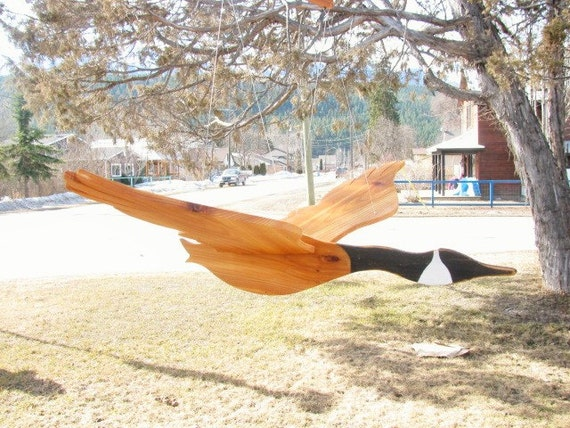 Large wooden flying bird mobile canada goose wood mobile for Garden accessories canada