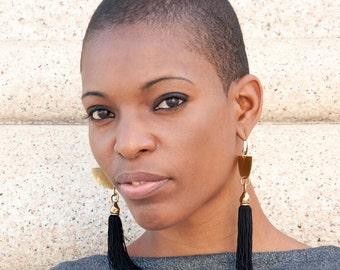 Tassel Earrings -Fringe earring- Fringe Statement Earrings- Tassel Jewelry -boho earrings - Black Earrings - handmade Earrings - Dangle
