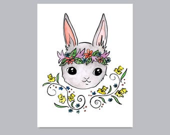 Woodland Rabbit with Daffodils Print