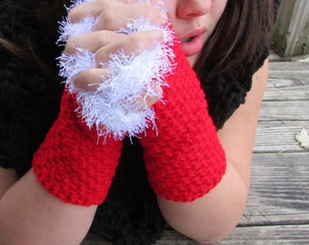 Christmas Fingerless Gloves, Faux Fur Trimmed Wrist Warmers, Red Hand Warmers, Santa Gloves