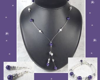 Wedding set 3 PCs beads Collection Classica - necklace/earrings - Andrea wedding party - bridal necklace-purple beads purple.