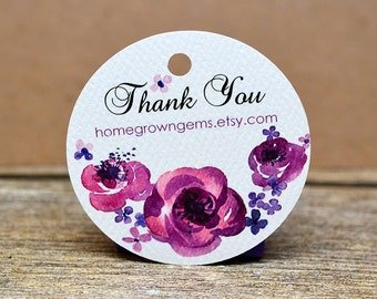 Purple Watercolor Flowers Floral Thank You Tags - Product Tags - Gift Tags - Packaging - Wedding - Party - Shower