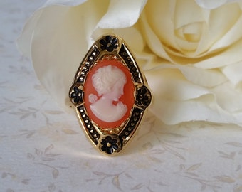 Cameo Ring,Carnelian Silhoutte Cameo,Vintage Downton Abbey Style Jewelry, Unique gift