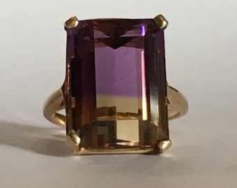 Vintage Ametrine Ring in 10K Yellow Gold. 7+ Carat Amethyst. Unique Engagement Ring. February Birthstone. 6th Anniversary Gift.