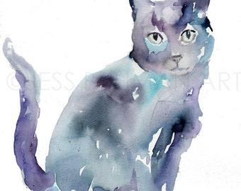 Black Cat Watercolor Painting Print, Black Cat Painting, Cat Watercolor, Cat Illustration, Print of Cat, Pet Painting, Animal Watercolor