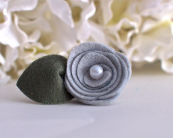 Gray Felt Flower-Gray Felt Mini Rose -Can only be purchased with a frame from Kissel Ave!