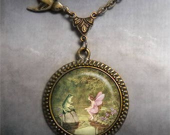 Frog and Fairy necklace, fairy tale necklace fairy jewelry fairy jewellery frog prince songbird necklace fairy tale pendant romantic gift