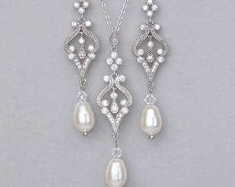 Wedding Jewelry Set, Pearl Bridal Set, White Gold Earrings and Necklace Set, Bridesmaids Jewelry Set, Pearl Drop Earring Set, ANDREA