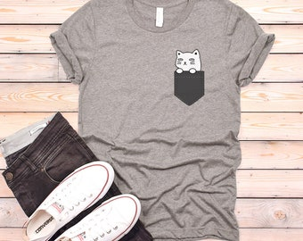 Cat Pocket T-shirt, Cat Shirt, Cat Unisex Tshirt, Funny Cat Kitten Shirts, Women T shirt Cat Gifts