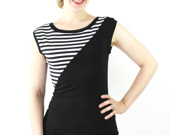 Streifen Top schwarz weiß Top gestreift Jersey handmade in Berlin T-Shirt schwarzes Shirt