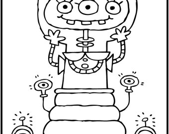 ALIENS PAK ONE / 5 Coloring Pages for Kids! Black and White Download