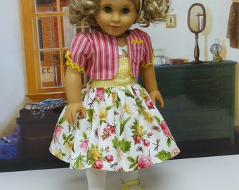 Botanical Beauty - Sleeveless Dress and Jacket for American Girl doll