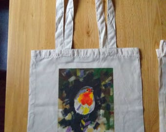 Cotton Tote gift bag Christmas Robin