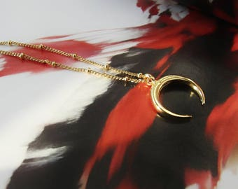 Gold Horn Necklace, tusk necklace, double horn necklace