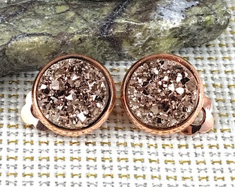 Rose Gold Druzy Clip On Earrings - Drusy - Clip On Earrings - Rose Gold Earrings - Non Pierced Ears - Rose Gold Clip Ons - Druzy Clip Ons