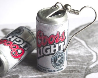 Beer Can Earrings Miniature Coors Light Beer Can 3D Coors Alcoholic Beverage Dangle Earrings PeculiarCollective Jewelry