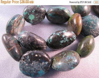 ON SALE 20% OFF Turquoise Nuggets Beads 14pcs