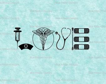 Nurse RN LPN CNA Medical Love svg,png, eps, jpg, pdf Cut Files for Silhouette, Cricut, Vinyl Cutting File