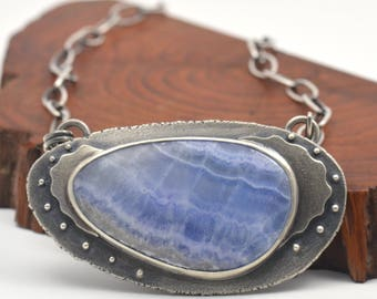 blue lace calcite sterling silver necklace