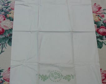 """Vintage Pillowcase Stamped for Embroidery Pillow Tubing, 21 x 34"""" Cotton Percale"""