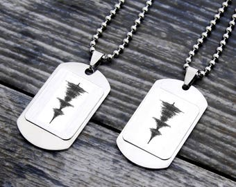 Personalized soundwave necklace, personalized couples necklace, soundwave jewellery, sound wave necklaces, couples gift, custom necklaces